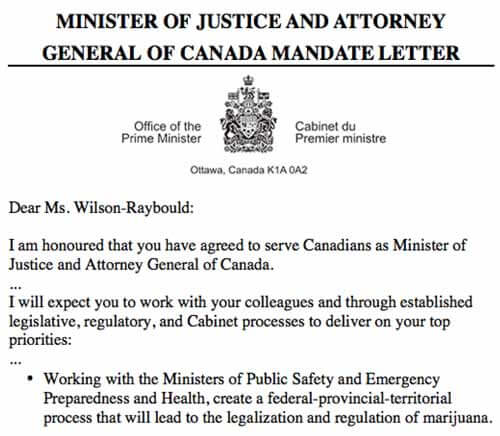 Trudeau writes justice minister to begin marijuana legalization efforts